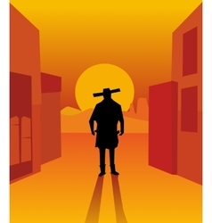 Wild west gunslinger vector