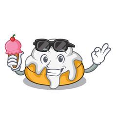 With ice cream cinnamon roll character cartoon vector