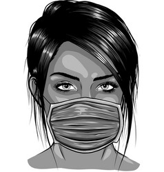 Woman wearing disposable medical surgical face vector