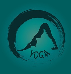 Yoga label with zen symbol vector