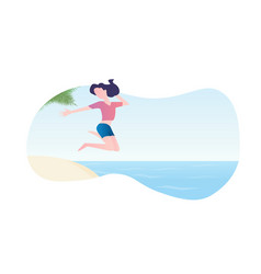 young girl jumping into water flat design vector image