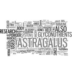 Astragalus text word cloud concept vector