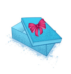 blue gift box with bow st valentines day a vector image