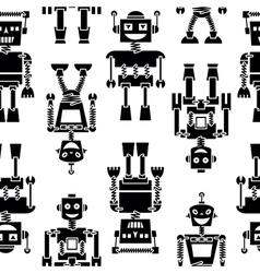 Cute retro robots black silhouette pattern vector image