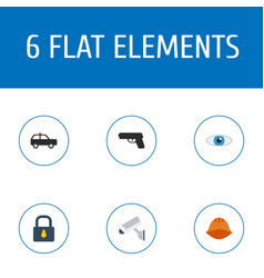 flat icons camera gun vision and other vector image vector image