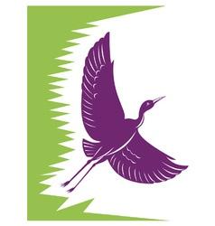 Heron crane flying retro vector