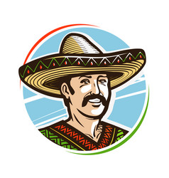 portrait of happy smiling mexican in sombrero vector image vector image