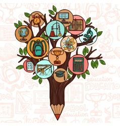 Tree with education icons vector image
