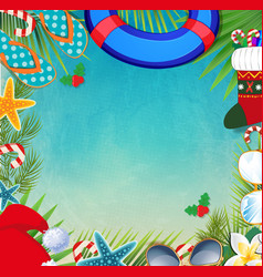 Merry christmas and happy new year border on a vector