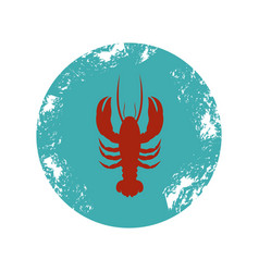 old blue circular border with silhouette lobster vector image vector image