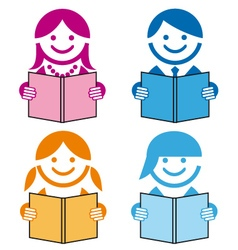 people with books icons vector image vector image