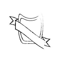 shield ribbon stamp decor sketch vector image