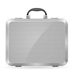 silver briefcase on white background for design vector image vector image