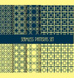 stylish seamless pattern set decorative line tile vector image vector image