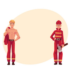 two firefighters firemen one at work another vector image