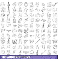 100 audience icons set outline style vector
