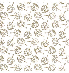 monstera tropic plant outline leaves seamless vector image vector image