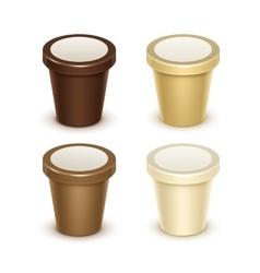 Set of Food Plastic Bucket For Yogurt Ice Cream vector image vector image