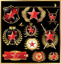 shield concept with red star vector image