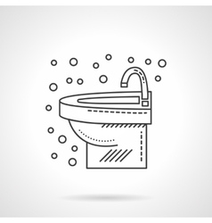 Wash basin with faucet flat line icon vector image vector image