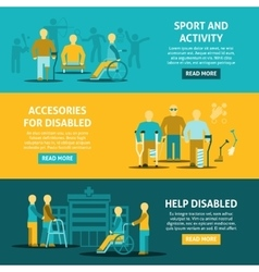 Flat Color Disabled Horizontal Banners vector image