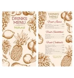 Fruit juice drinks menu of sketch fruits vector image