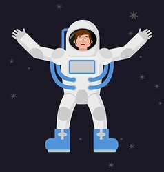 Happy astronaut in outer space Good cheerful vector image