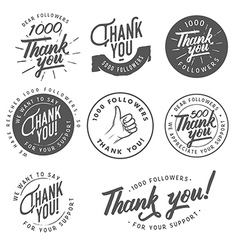 Vintage Thank you badges labels and stickers vector image vector image