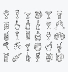 alcohol hand drawn icon line art doodle eps10 vector image