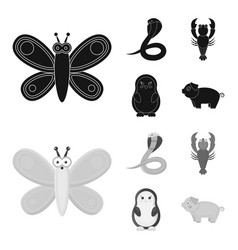 an unrealistic blackmonochrom animal icons in set vector image