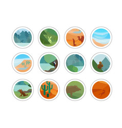 animals and nature stickers set vector image