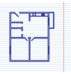 apartment house floor plans navy line vector image