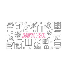 author horizontal line banner or vector image