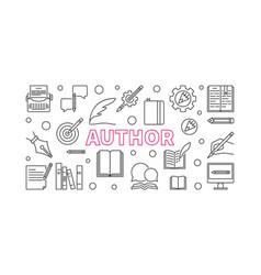 Author horizontal line banner vector