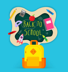 Back to school sale banner poster flat design vector