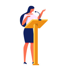 Beautiful woman gives lecture stand near podium vector