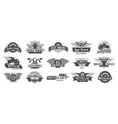 Biker club emblems retro motorcycle rider badges vector