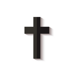 black cross icon with realistic shadow isolated on vector image