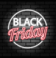 Black friday sale neon signboard vector