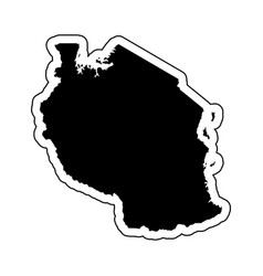 black silhouette of the country tanzania with the vector image