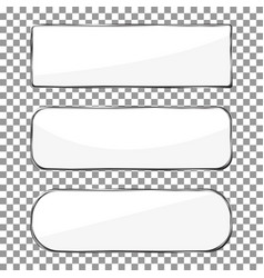 Blank banner button with silver metal frame chrom vector