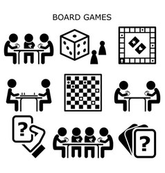 Board games people playing cards and chess vector