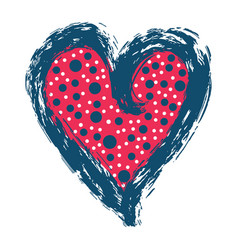 Brush stroke red blue love heart and dotty vector