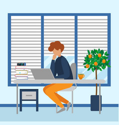 Business man working at laptop sit at desk vector