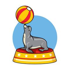 Cartoon seal circus vector