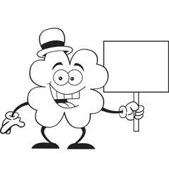 Cartoon shamrock holding a sign vector image