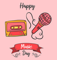 Celebration music day card art vector
