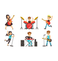 Children playing musical instruments and singing vector