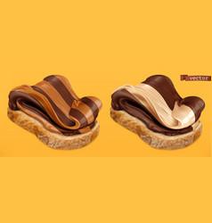 chocolate swirl duo spread on bread 3d realistic vector image