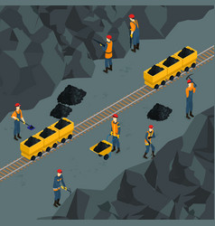 coal industry isometric template vector image